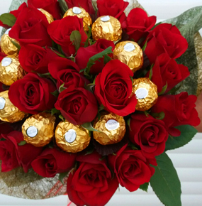Handtied Red Roses with Chocolates