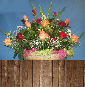 Red & Orange Roses with Glaieul in a Basket