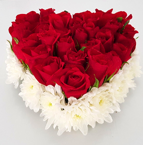 Red Roses Heart Shaped with chrysanthemums