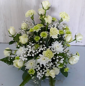 White Roses, Carnations & chrysanthemums with a hint of green
