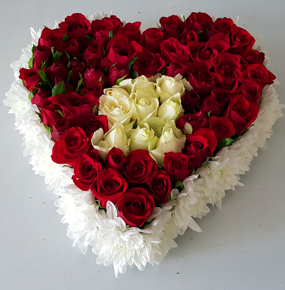 60 Red & White Roses in a heart shape